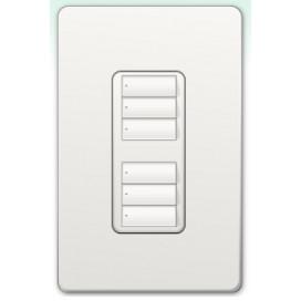 Botonera Lutron Homeworks QS cableada dos grupos de tres botones
