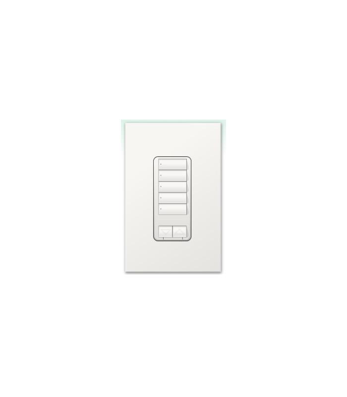 Botonera Lutron Homeworks 5 botones con R/L y atenuador de 450W