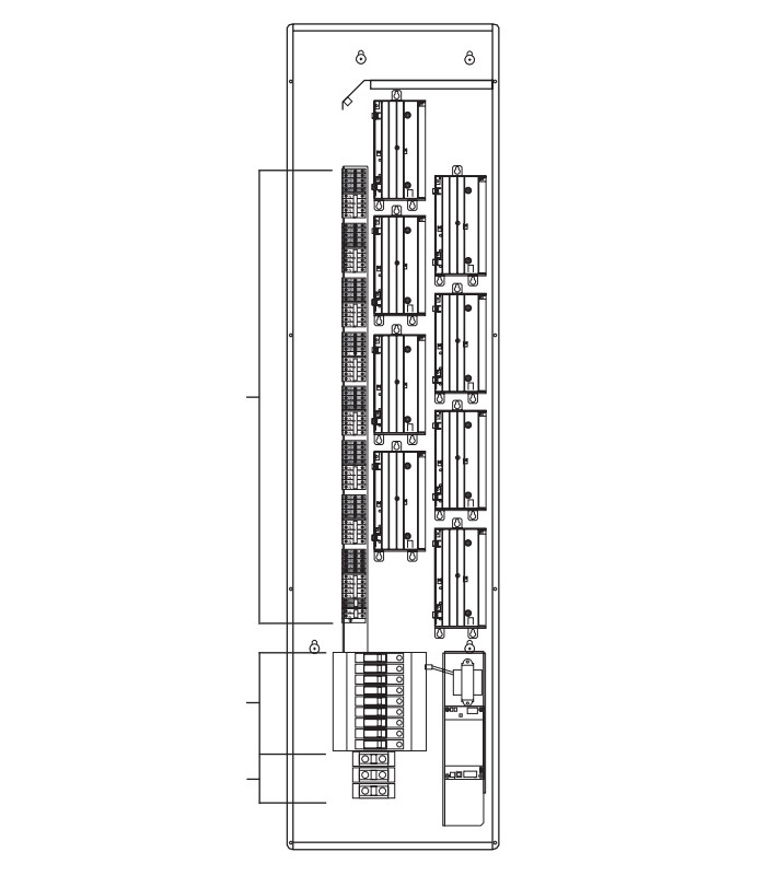 20A integrated breakers - accepts 3-phase, 4-wire feed