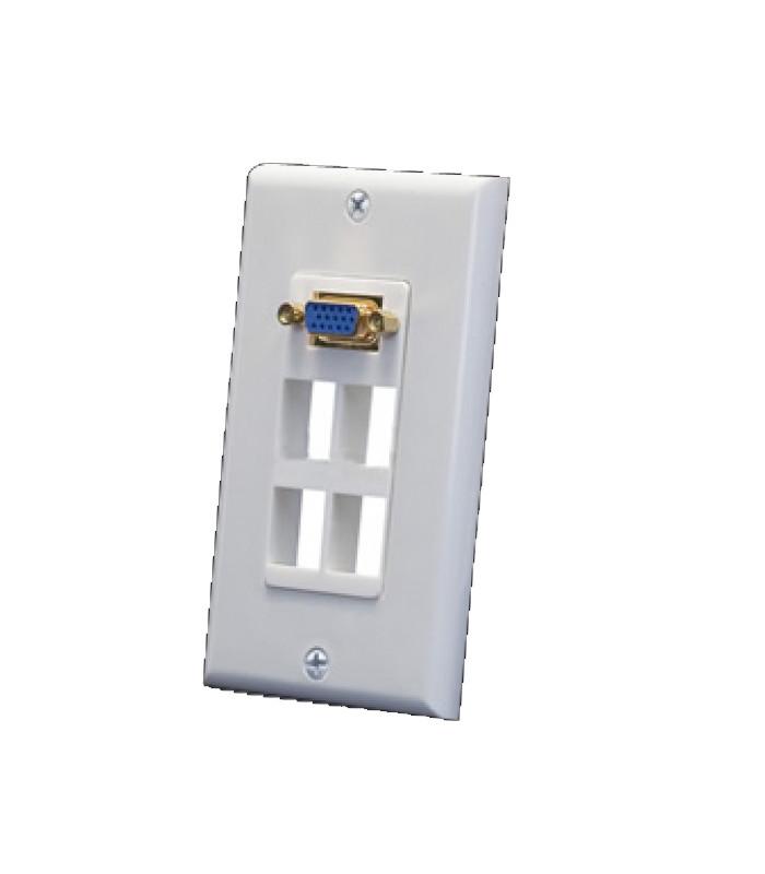 WALL PLATE 4 agujeros con conector VGA