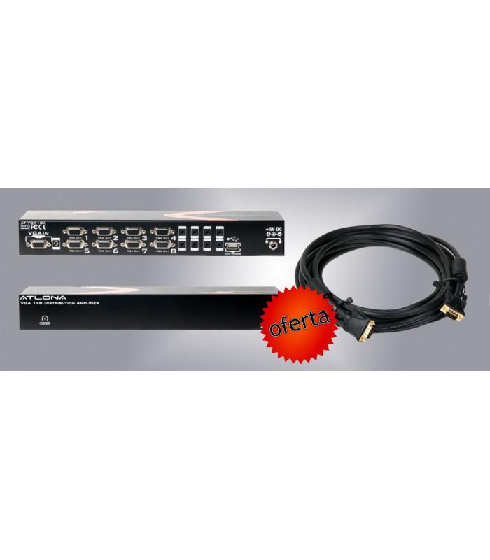 Combo Distribuidor VGA 1x8 GRATIS cable VGA Atlona Alta Calidad 10 MTS