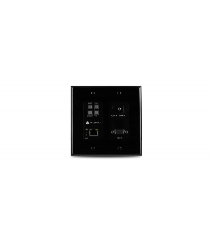 (Tx Only) Two-Input Wall Plate Switcher for HDMI and VGA Sources (Black)