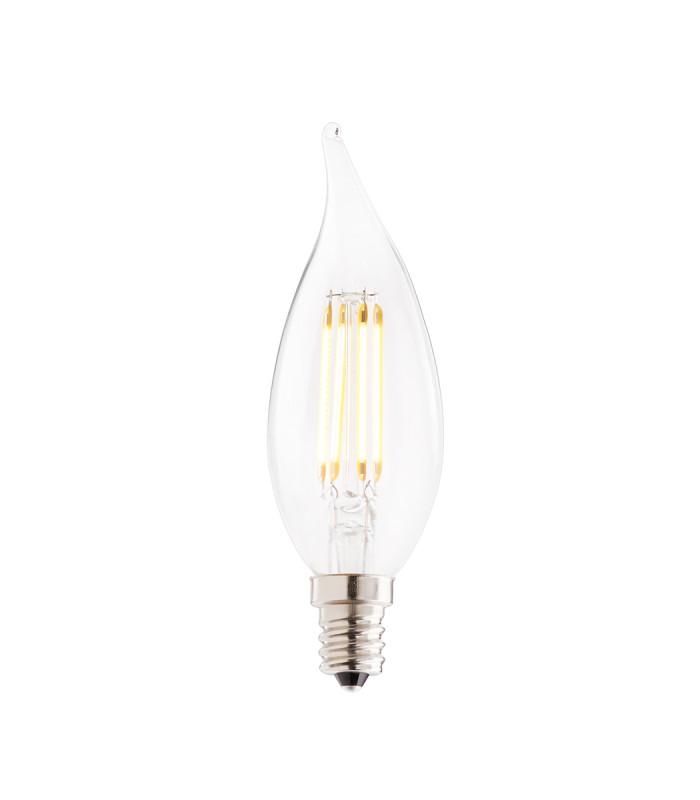 Bombilla LED E12 120V 3000K 350 Lumens,Acabado: Clear