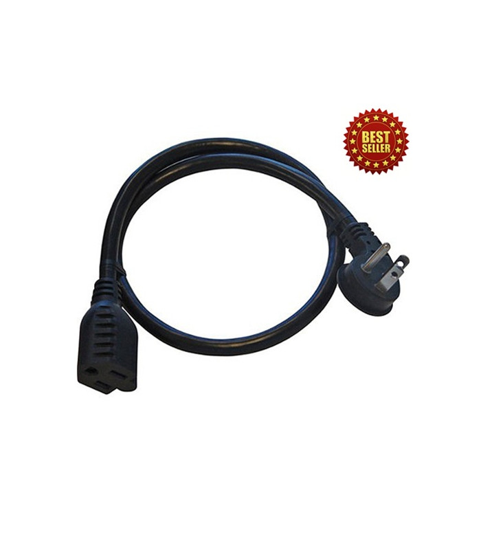 15A Flat Plug - 14 AWG 90 Degree Angle Adapter Plug, 24 Inches, Black